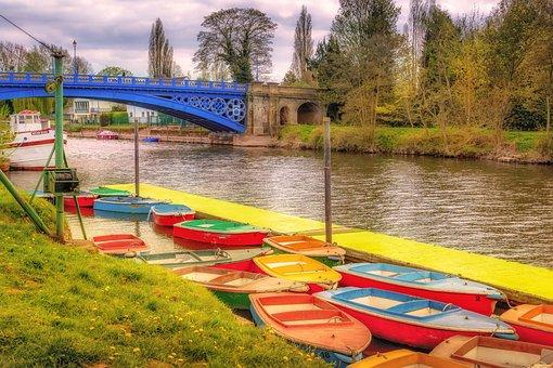 Stourport On Severn, Riverside, Boats, Bridge, Blue