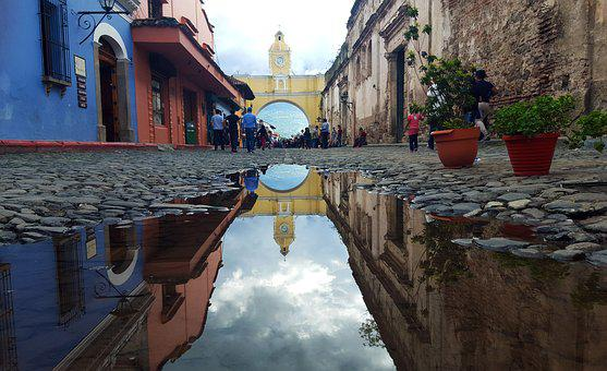 Street, Reflection, City, Urban, Building, Architecture