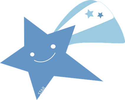 Comet, Falling Star, Shooting Star, Blue, Tail, Smiley