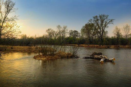 Spring, Nature, River, Island, Sunset, Evening, Flood