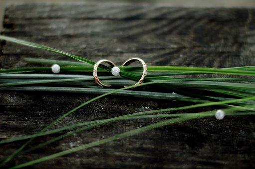 Wedding Rings, Grass, Tree, Jewelry, Beads, Green, Gold