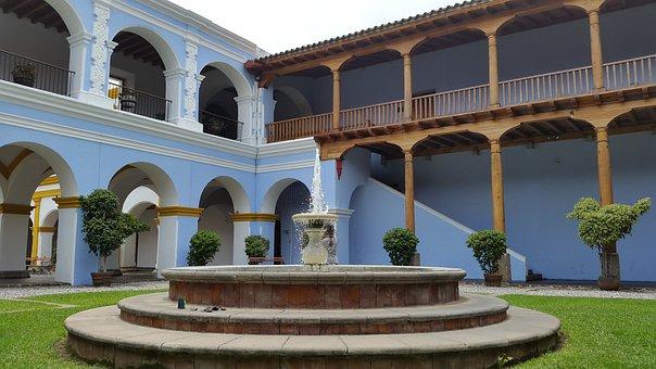 Fountain, Water, Decoration, Garden, Convent, House
