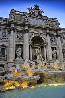 Fountain, Di Trevi, Trevi, Rome, Italy, Travel, Water