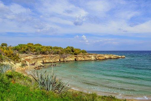 Beach, Cliff, Landscape, Scenery, Malamas Beach