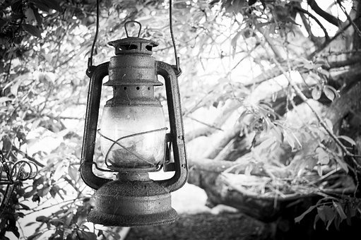 Lighthouse, Old, Rusty, Lamp, Black And White