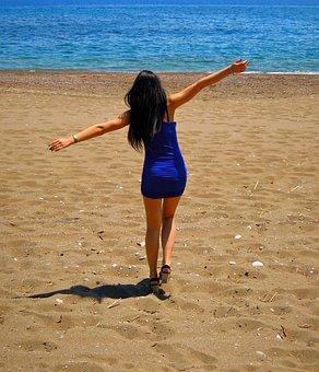 Beautiful, Girl, Sea, Summer, Behind, Joy, Serenity