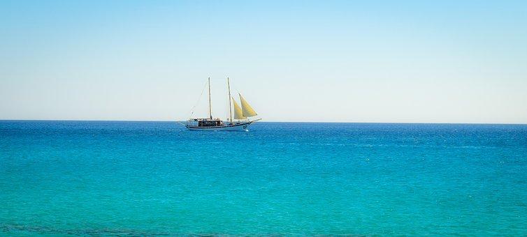 Cruise Ship, Traditional, Sea, Horizon, Turquoise