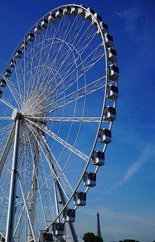 French, France, Paris, Ferris, Wheel, Eiffel, Tower