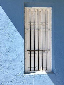 Door, Blue, Bars, Construction, Sea, Old Door, Coastal