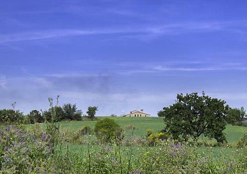 Prairie, House, Field, Green, Nature, Landscape, Spain