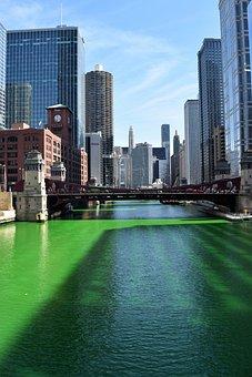 Chicago, River, Green, St, Saint, Patrick, Architecture