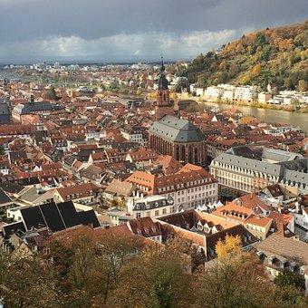 Overlooking, Castle, City, Heidelberg, Landscape