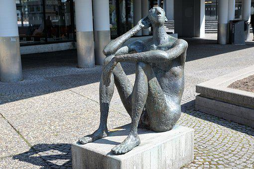 Sculpture, Pforzheim, Art, Naked, Act, Man, Head