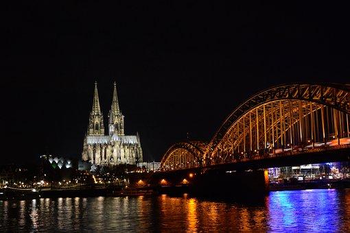 Cologne, Dom, Hohenzollern Bridge, Night, Rhine, Water
