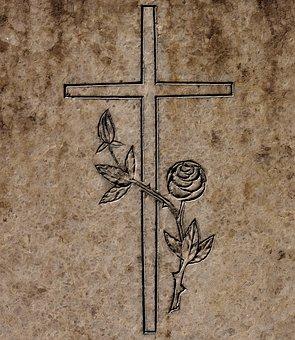 Cross, Granite Slab, Pattern, Roses, Grey, Stone