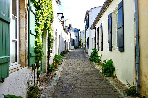 Saint Martin De Ré, Lane, Village, Pavers, Sweet Peas