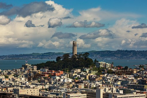 San Francisco, Clouds, Sea, Usa, Sky, Blue, Pacific