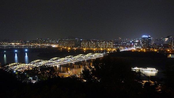 Seoul, Night View, Han River, Hangang Bridge, Bridge