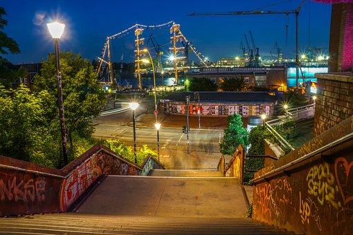 Hamburg, Haafen, Ship, River, Water, At Night, Mood