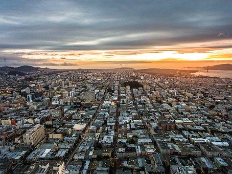 San Francisco, Sunset, Urban, City, Ocean, Usa