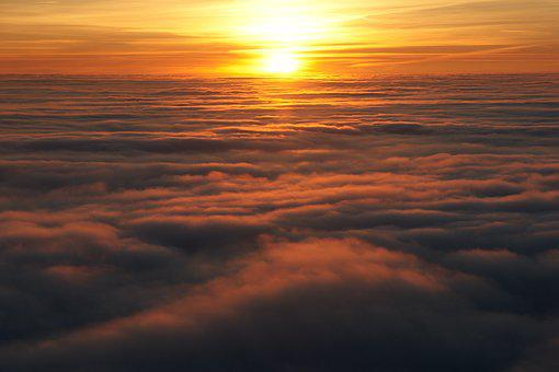 Fog, Gulf, Trieste, Sunset, Sun, Yellow, Red, Clouds