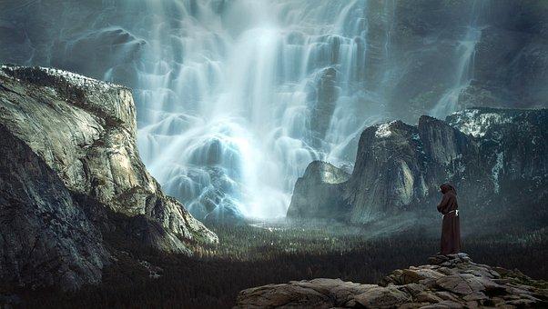 Waterfall, Mountains, Landscape, Water, Mountain Nature