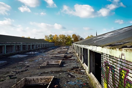 Lost Places, Over The Rooftops, Factory, Old, Abandoned