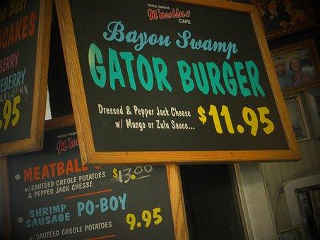 French Quarters, Gator Burger, New Orleans, Cajun Food