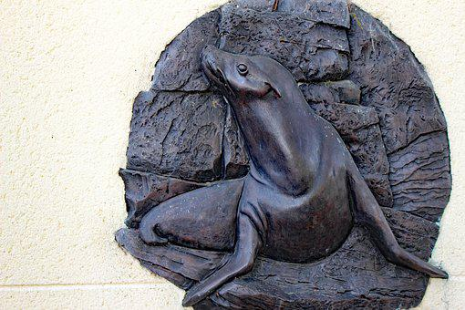 Sea Lion, Carving, Sculpture, Water, Statue