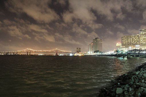 New Orleans, Nola, Mississippi, Night, Bridge, City