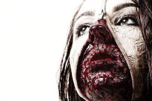 Make-up, Ceremonial, Dead, Woman, Face, Zip, Blood