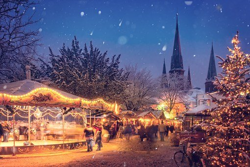 Illuminated, Evening, Winter, Holiday, Decoration, City