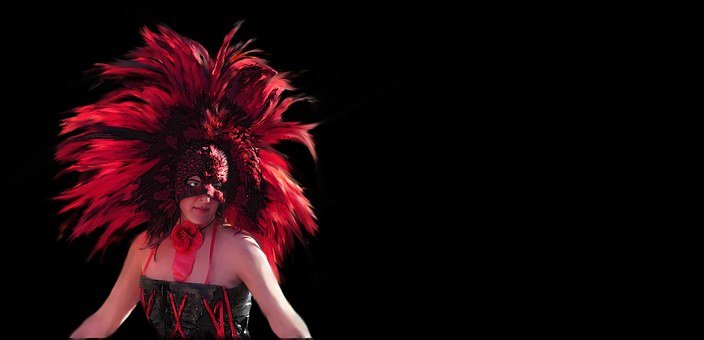 Face Mask, Mardi Gras, New Orleans, Feathers, Red