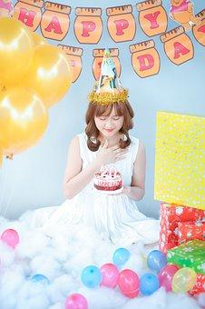 Birthday, Girl, Cake, Ballons, Happy, Day, Female