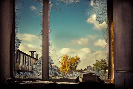 Lost Places, Window Frames, Glass, Broken, Factory, Old