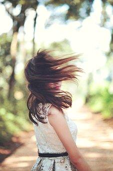 Girl, Hair, White, Dress, Female, Sunset, Style, Model