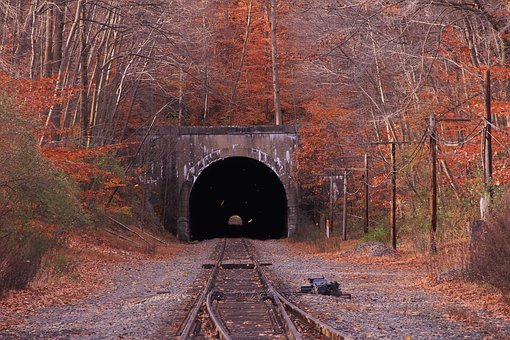 Train, Tunnel, Fall, Jersey, Transportation, Railway