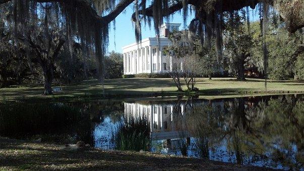 Building, House, Pond, Plantation, Louisiana, Landscape