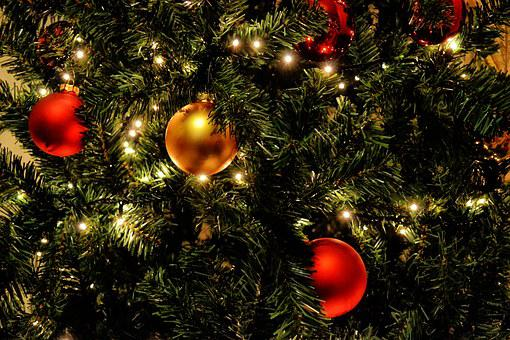 Christmas Tree, Lights, Balls, Red, Gold, Holiday, Tree