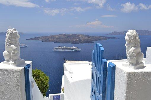 Landscape, Santorini, Mar, Gate, Lions, Blue, White