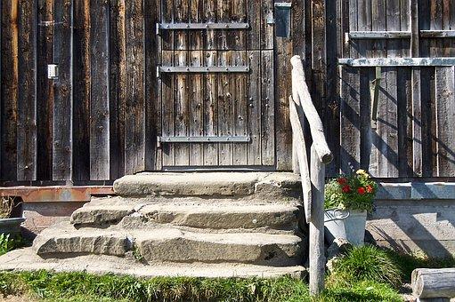 Hut, Rest, Allgäu, Hike, Planters, Railing, Stairs