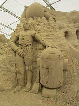 Sand World, Sand Sculpture, Star Wars, C-3po, R2d2
