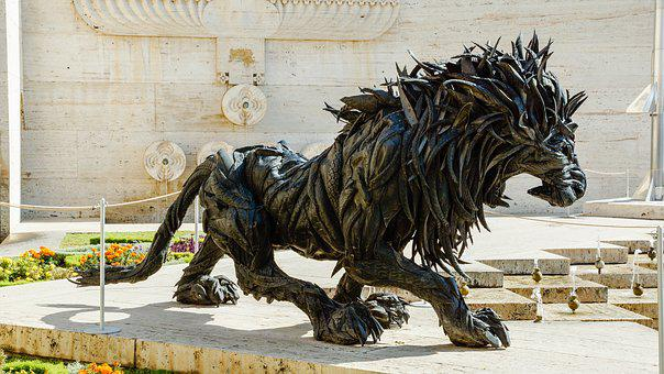 Lion, Head, Sculpture, Art, Statue, Tire, Ji Yong-ho