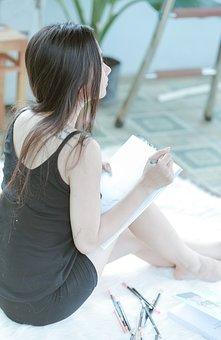 Girl, Write, Art, Draw, Female, Style, Model, Woman