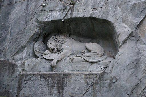 Switzerland, Wounded Lion, Stone Carving