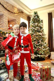 Boys, Christmas, Holiday, Happy, Tree, Xmas, Santa