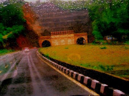 Driving, Highway, Rain, Misty, Abstract, Underpass