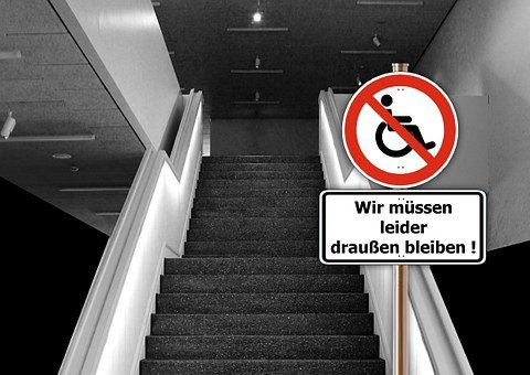 Stairs, Shield, Ban, Obstacle, Handicap, Access