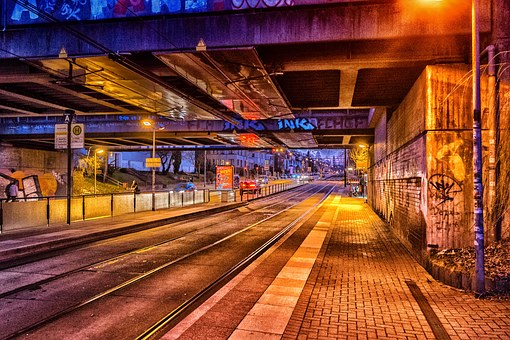 Road, Graffiti, Tram, Stop, Art, Wall, Underpass, Mural