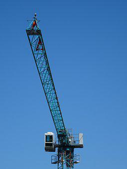 Crane, Baukran, Blue Sky, Construction Work, Technology